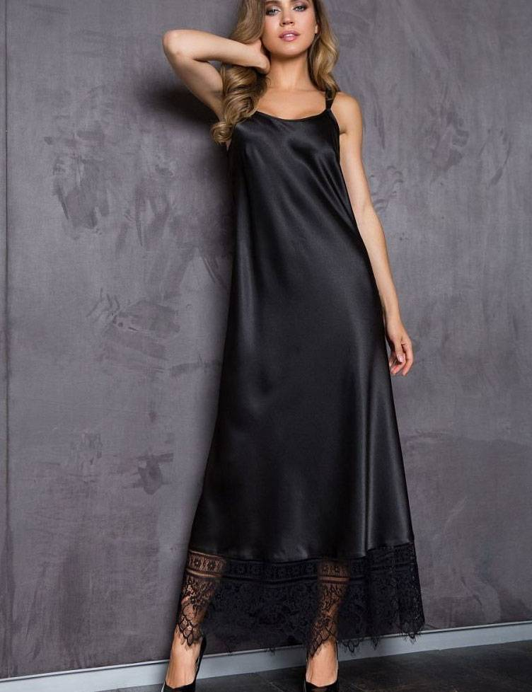 Длинное Черное Шелковое Платье